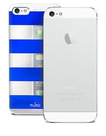 Чехол клип-кейс PURO Stripe Cover, для iPhone 5/5S цвет white/blue