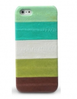 Чехол кожаный Zenus Prestige Natural Eel Bar Case Multi Green для iPhone 5/5S/SE