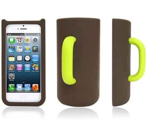 Силиконовый чехол кружка для iPhone 5/5S Mug Case, коричневый-зеленый
