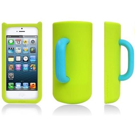 Силиконовый чехол кружка для iPhone 5/5S Mug Case, зеленый-голубой