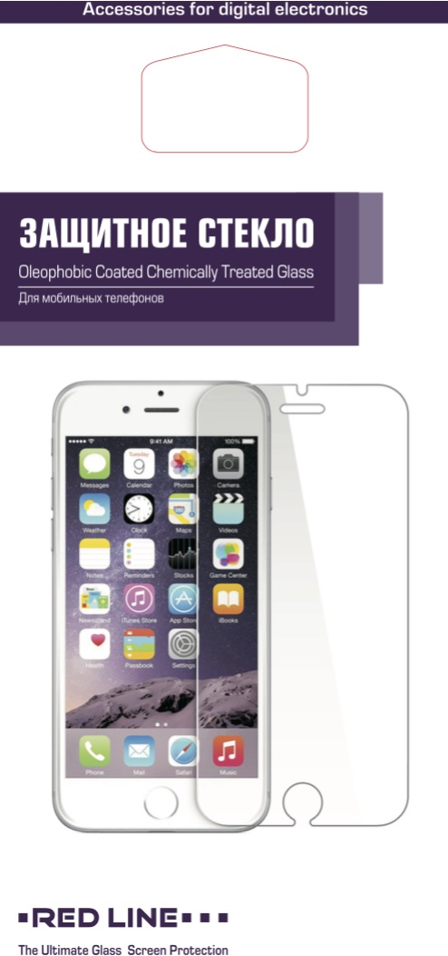 Защитный экран Red Line для телефона iPhone 5/5S/5С Tempered GLASS