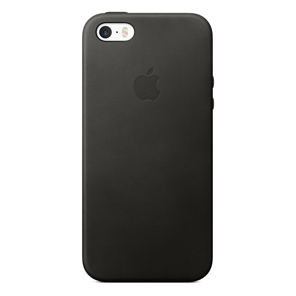 Кожаный чехол для iPhone SE, чёрный цвет