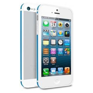 Чехол - бампер Deppa Slim Bumper для Apple iPhone 5/5S (белый/синий)