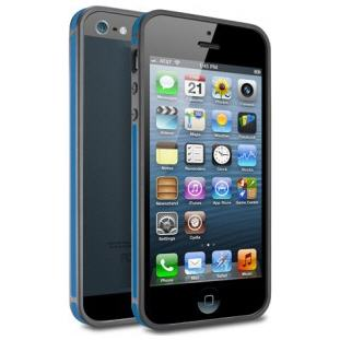 Чехол -бампер Deppa Slim Bumper для Apple iPhone 5/5S (черный/синий)