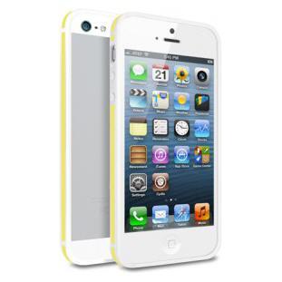 Чехол - бампер Deppa Slim Bumper для Apple iPhone 5/5S (белый/желтый)