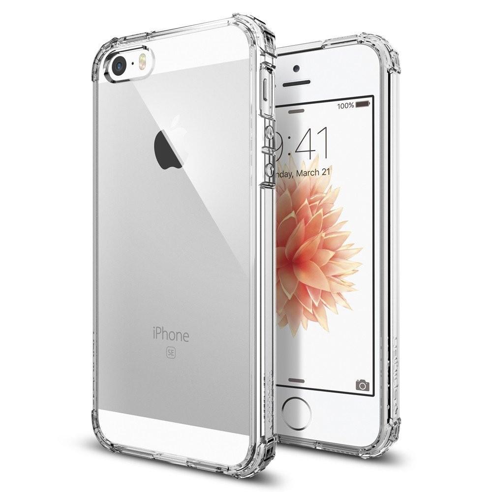Чехол клип-кейс для Apple iPhone 5/5s/SE из плотного силикона с усиленными уголками (прозрачный)