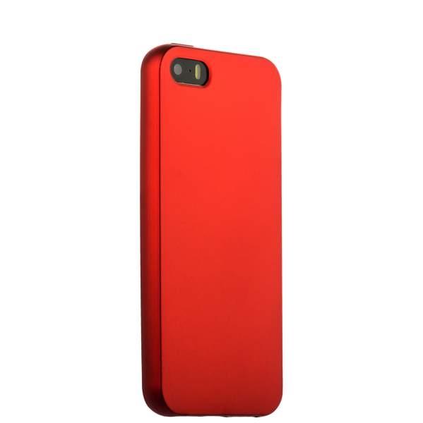 Чехол клип-кейс силиконовый матовый для Apple iPhone 5/5s/SE (красный)