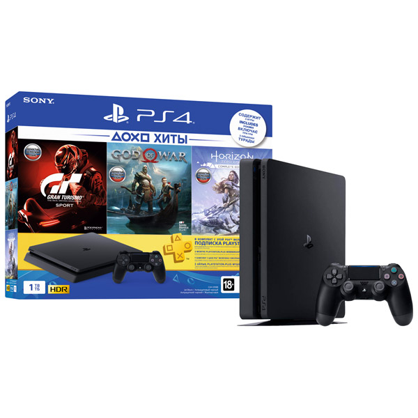 Игровая консоль PlayStation 4 1TB Horizon Zero Dawn+ GTS+God Of War+PS+ 3 мес