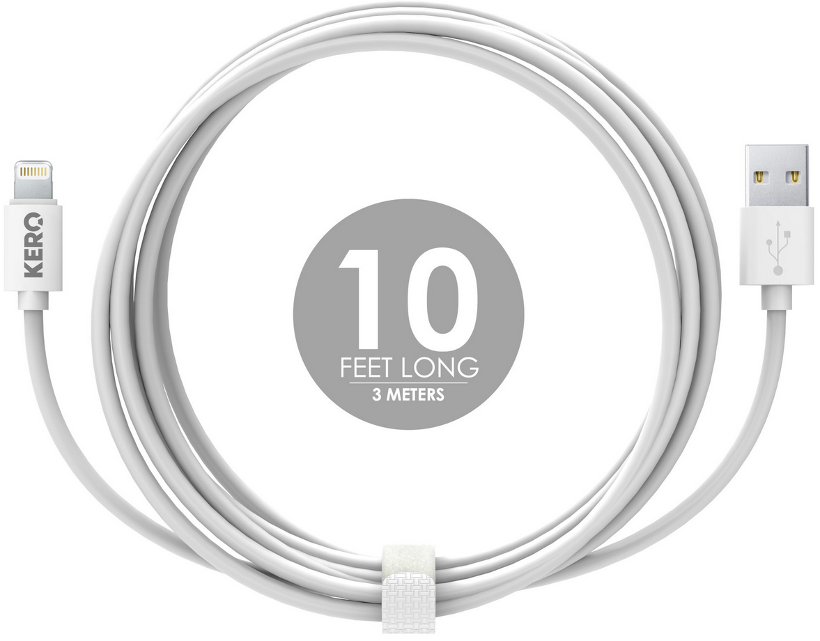 Кабель KERO Lasso Apple Lightning для Apple iPad Air/mini, iPhone 5/5C/5S, белый, 3 метра