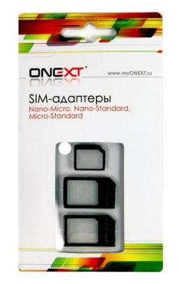 SIM-Адаптер ONEXT,комплект 3 в 1,черный