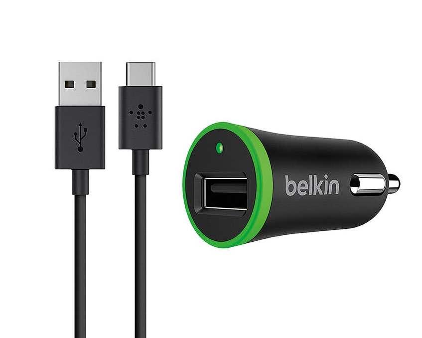 Автомобильное зарядное устройство Belkin USB-C 1.8m Cable with Car Charger (F7U002bt06-BLK) (черный)